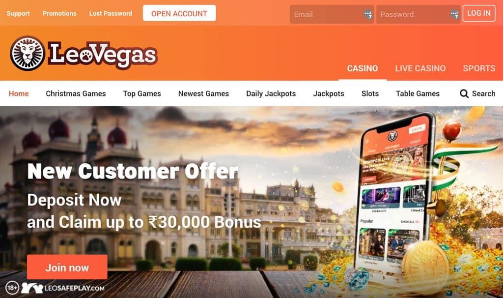 Screenshot of leovegas Casino's homepage