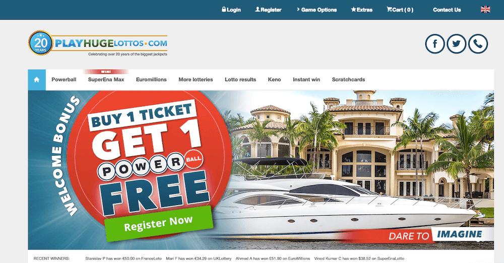 screenshot of PlayHugeLottos Casino's homepage