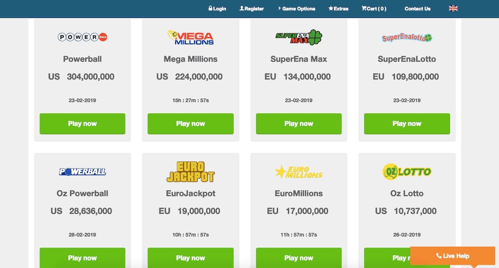 screenshot of the casino games at playhugelottos