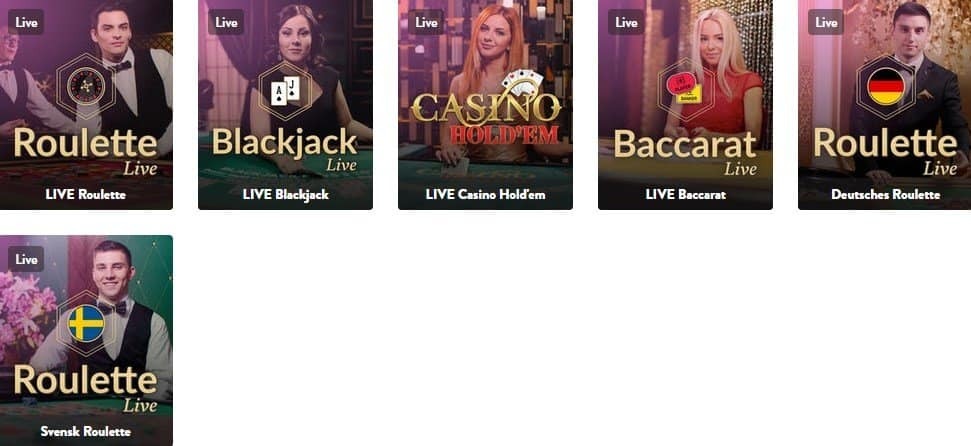 screenshot of the live casino games at dunder