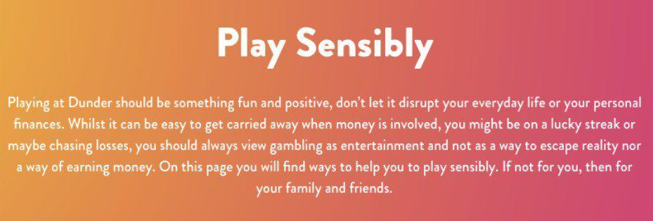 screenshot of responsible gambling at dunder Casino