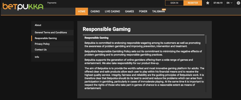 screenshot of responsible gambling at betpukka Casino
