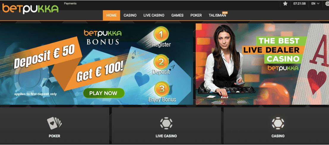 screenshot of Betpukka Casino's homepage