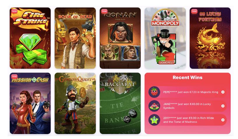 screenshot of the casino games at nomini