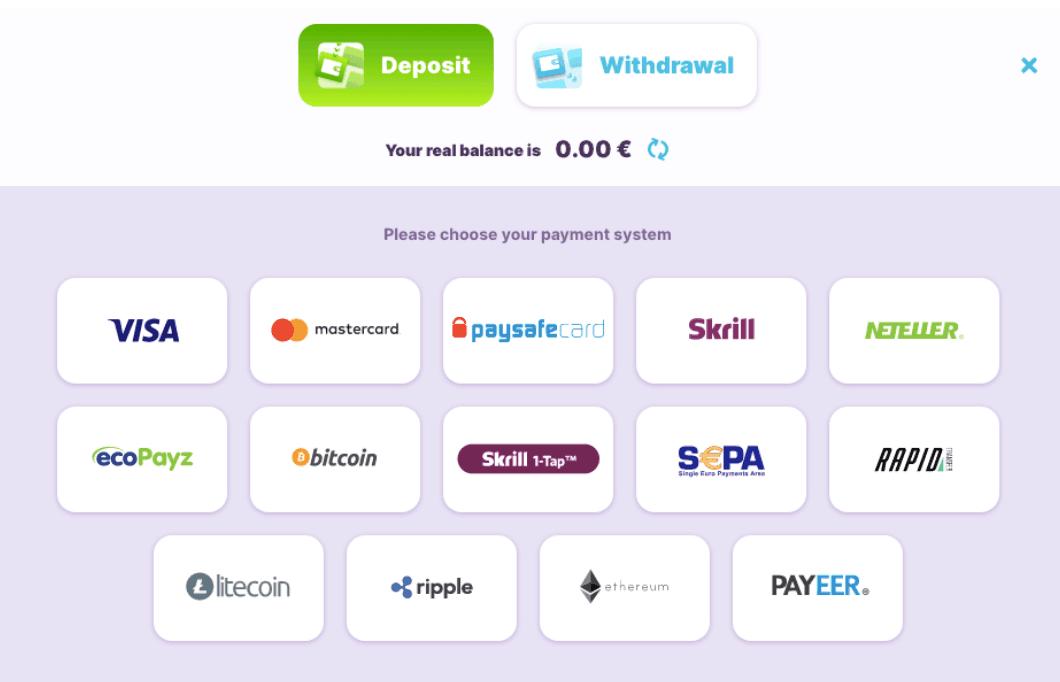 screenshot of the deposit methods at nomini Casino