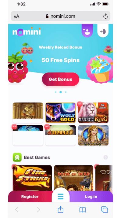 screenshot of mobile app at nomini