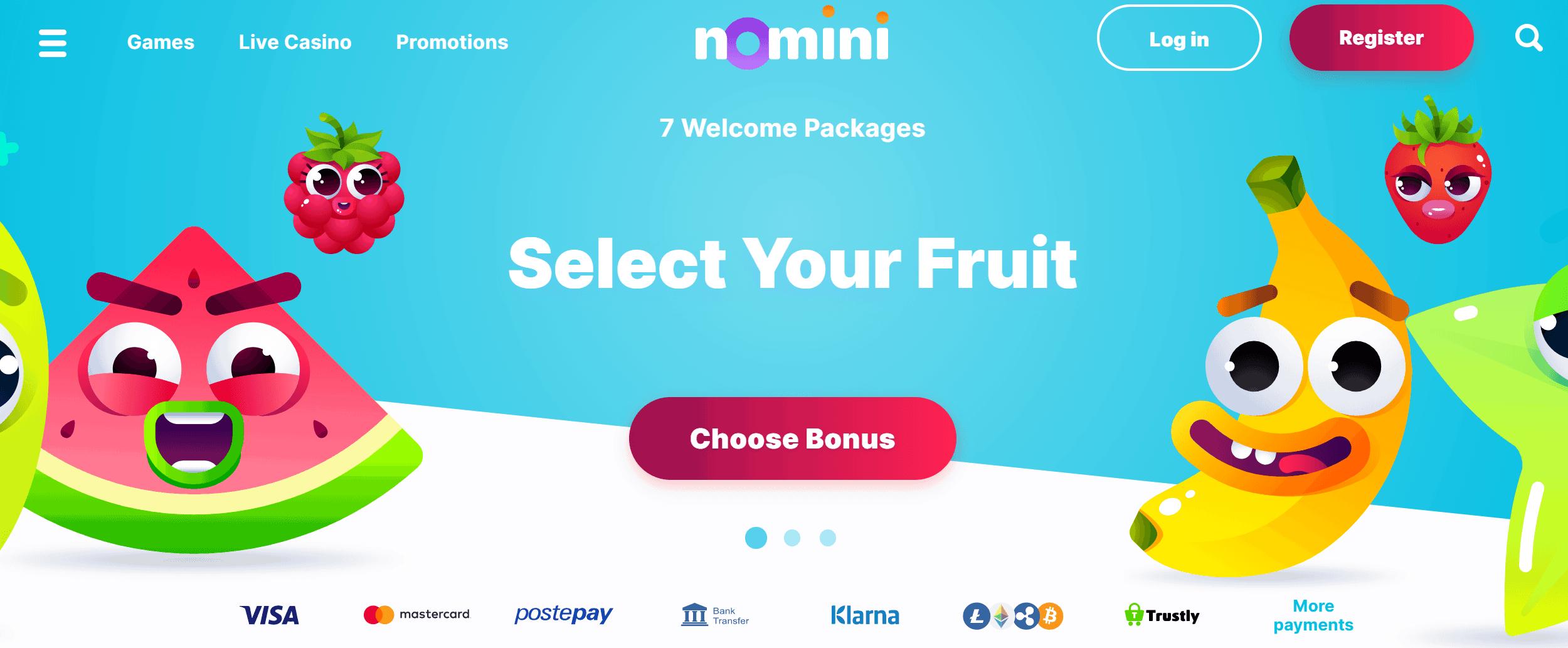 screenshot of Nomini Casino's homepage
