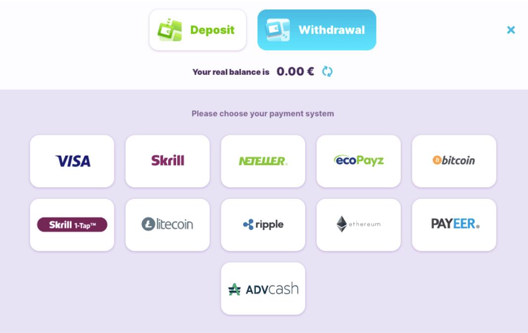 screenshot of the withdrawal methods at nomini Casino