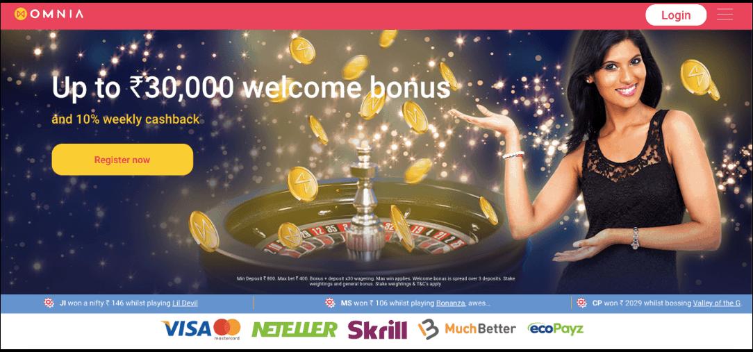 screenshot of Omnia Casino's homepage