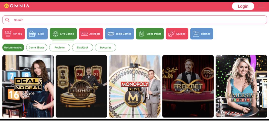 screenshot of the casino games at omnia