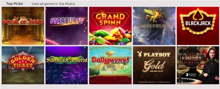 screenshot of the casino games at NYSpins