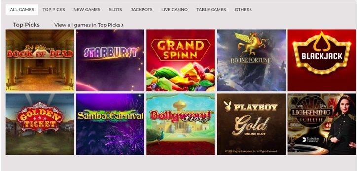 screenshot of NYSpins Casino's homepage