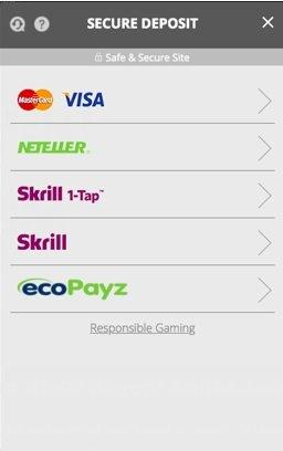screenshot of the deposit methods at regent Casino