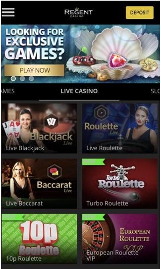 screenshot of mobile site at regent Casino