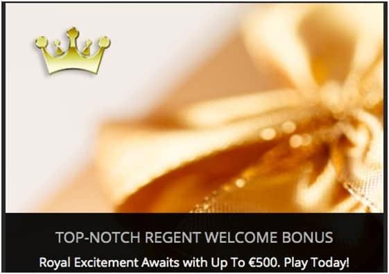 screenshot of the welcome bonus at Regent Casino