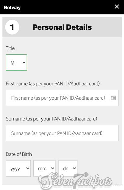Screenshot of registration process step 2, name and DoB