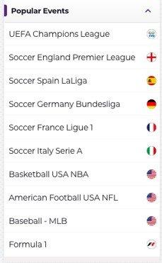 screenshot of Sportsbook at Betzest Casino