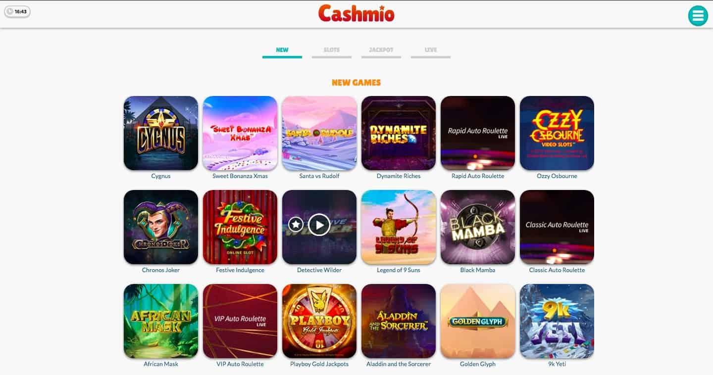 screenshot of casino games at cashmio casino