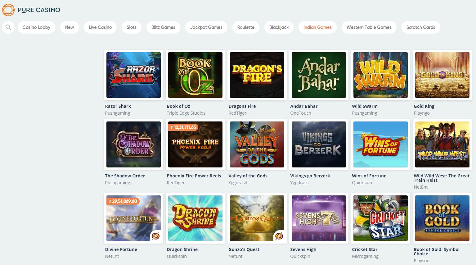 screenshot of the casino games at pure casino