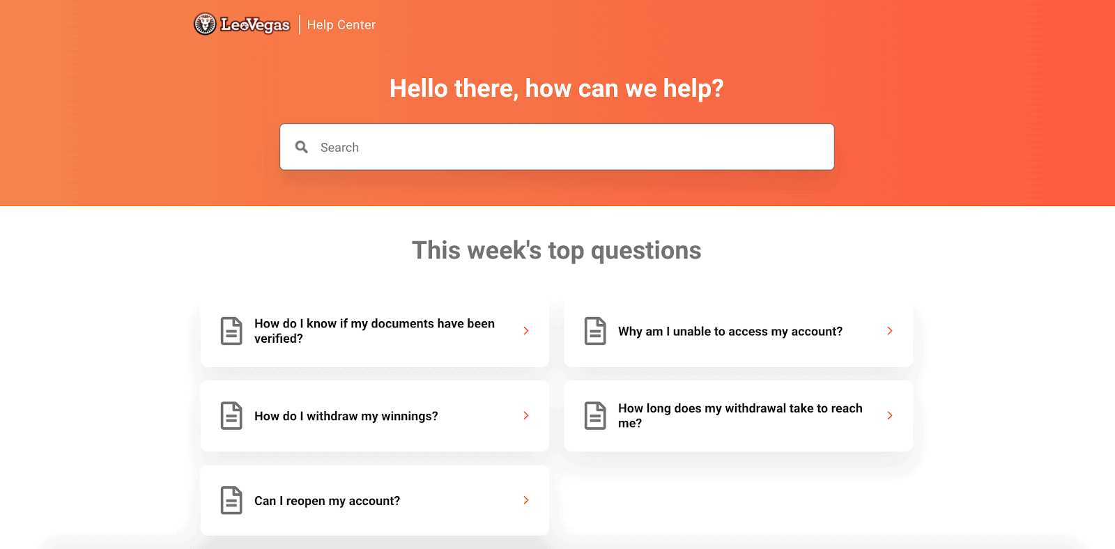 screenshot of leovegas help centre