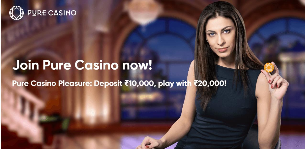 screenshot of Pure Casino's homepage