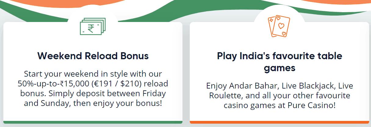 screenshot of the welcome bonus at Pure Casino