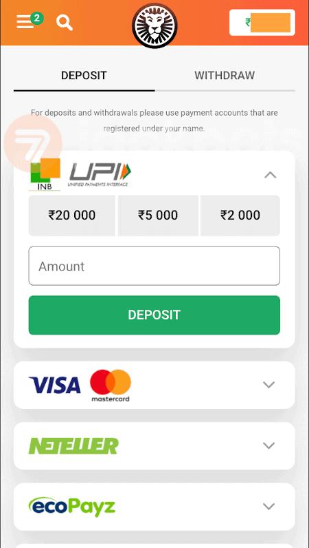 screenshot step 2 deposit