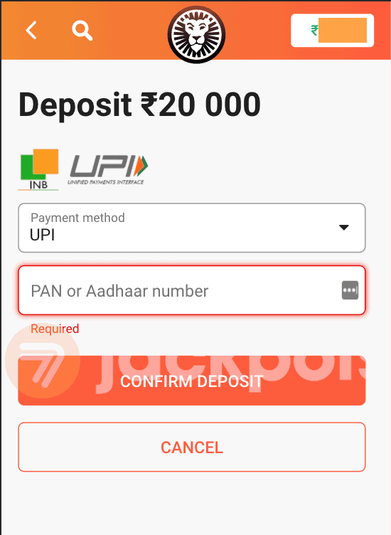 screenshot step 3 deposit