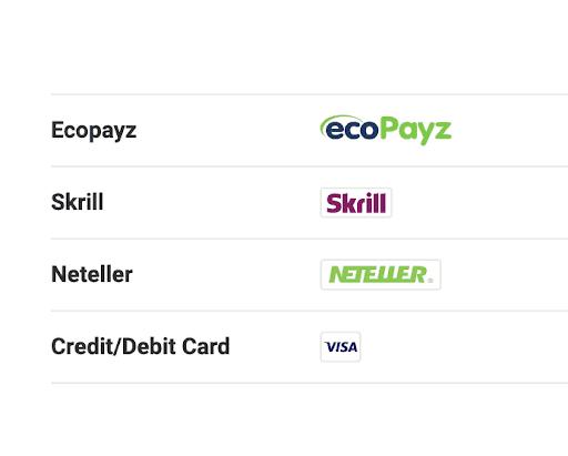 screenshot of the deposit methods at unibet Casino