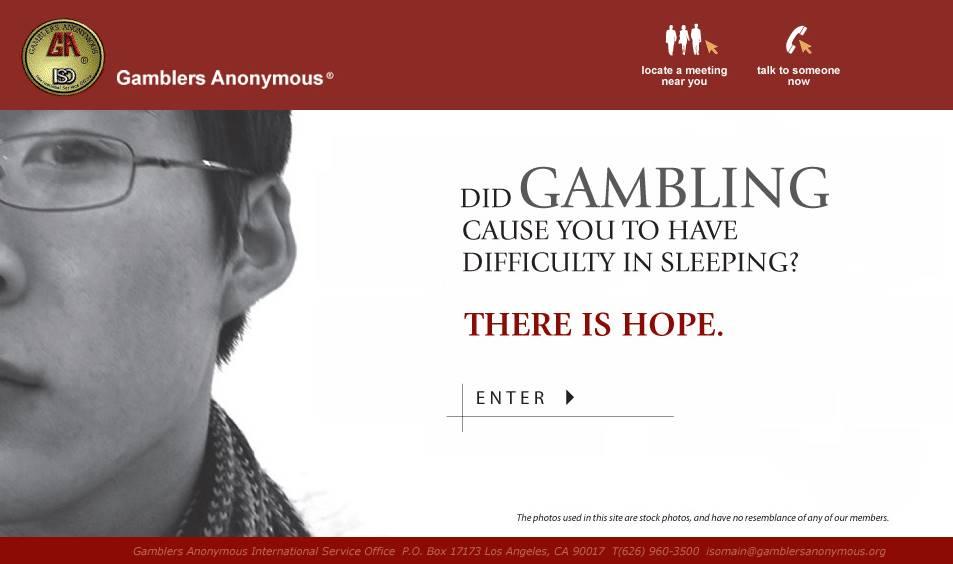 SCreenshot of Gamblers Anonymous website