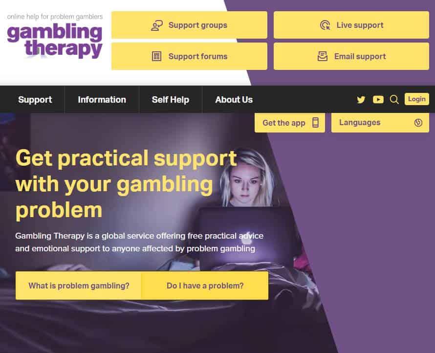 Screenshot of Gambling Therapy UK website