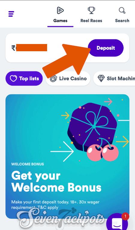 screenshot showing deposit step 1