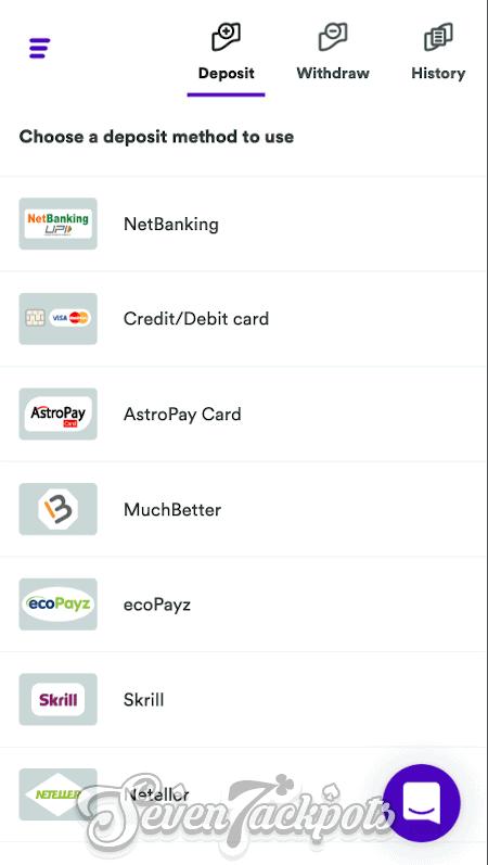 screenshot showing deposit step 2 options