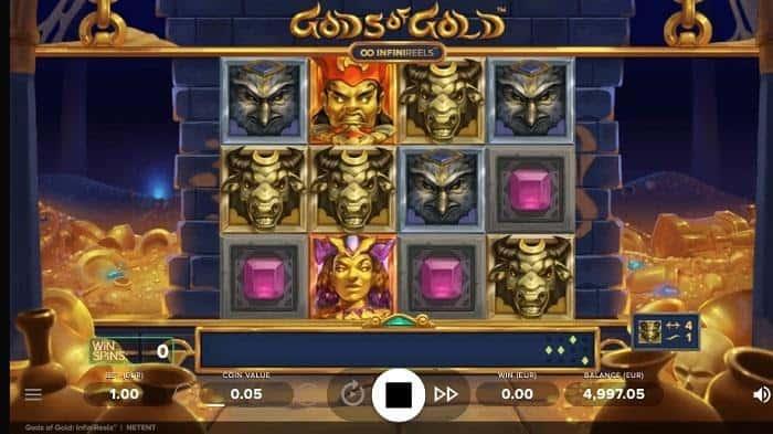screenshot of God Of Gold infinireels slot by netent