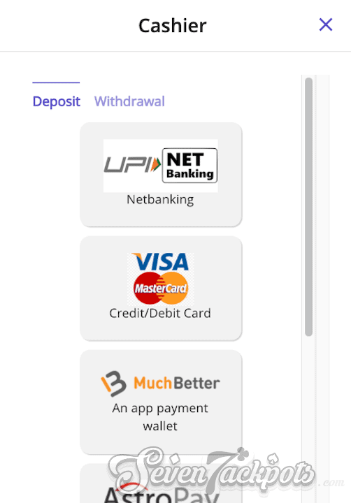 Screenshot of process on how to deposit step 2