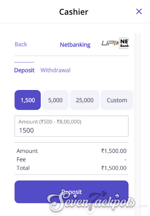 Screenshot of process on how to deposit step 3