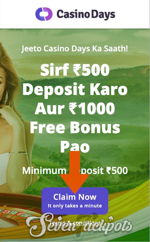 screenshot of Casino Days registration step 1