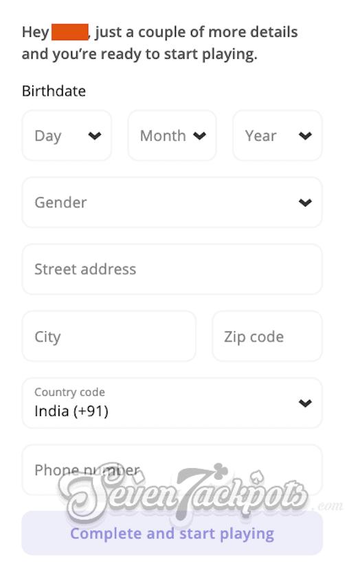 screenshot of Casino Days registration step 3