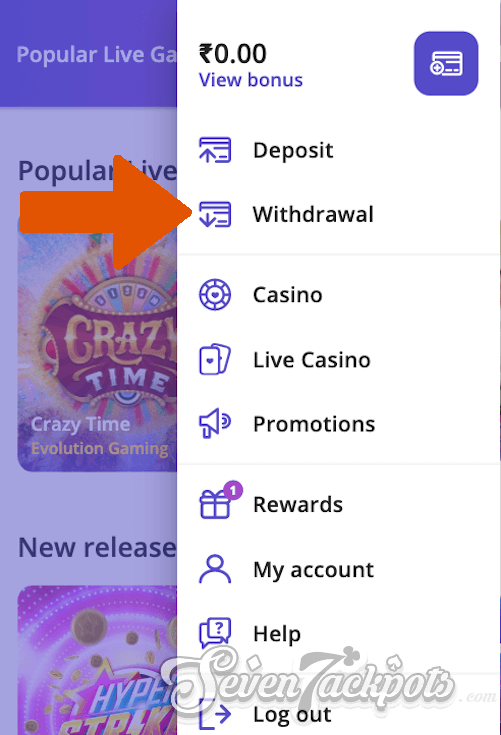 Screenshot of process on how to withdraw step 2