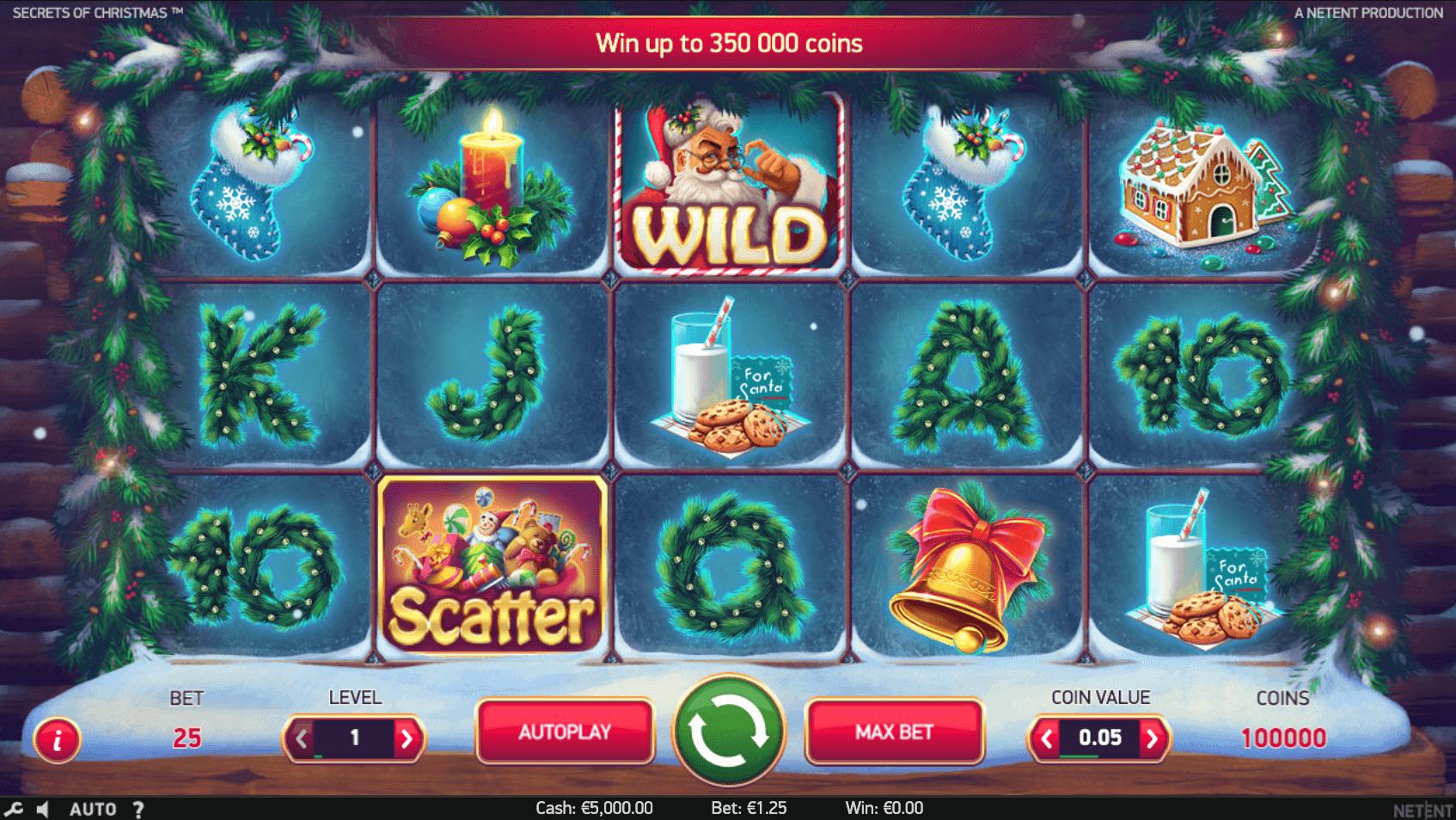 Screenshot from Secrets of Christmas NetEnt slot