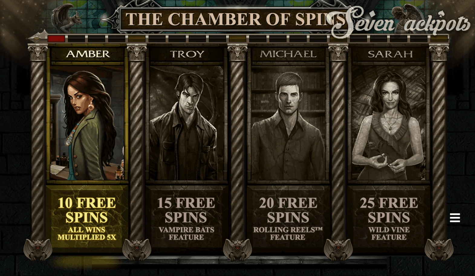 Screenshot of Immortal Romance slot Free Spins feature