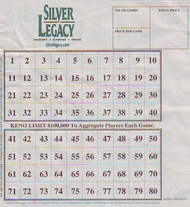Image of a keno lottery slip