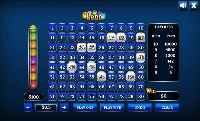 Screenshot how an online keno game.