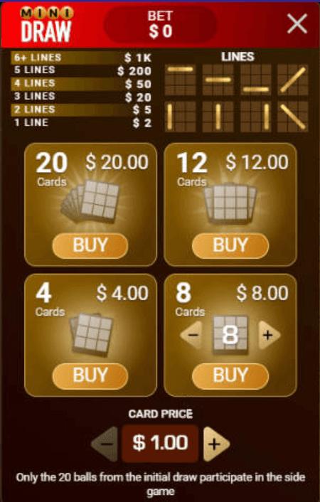 screenshot of the mini draw side-bet lobby