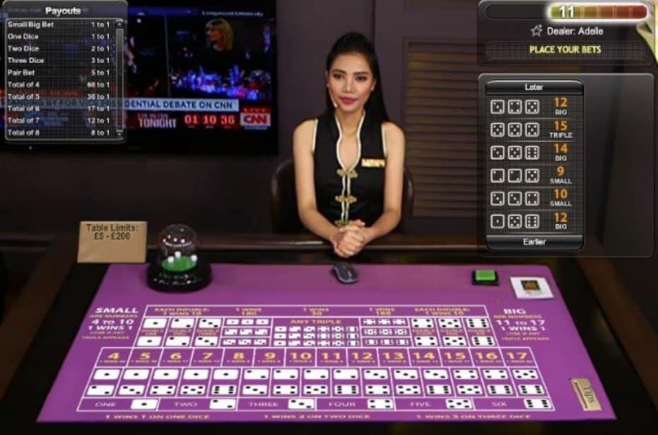 Screenshot of an Asian Sic Bo dealer